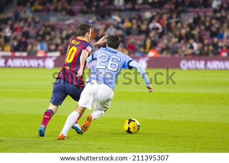 BARCELONA - JANUARY 26: Lionel Messi (L) of FCB in action at Spanish league match between FC Barcelona and Malaga CF, final score 3-0, on January 26, 2014, in Barcelona, Spain. - stock photo