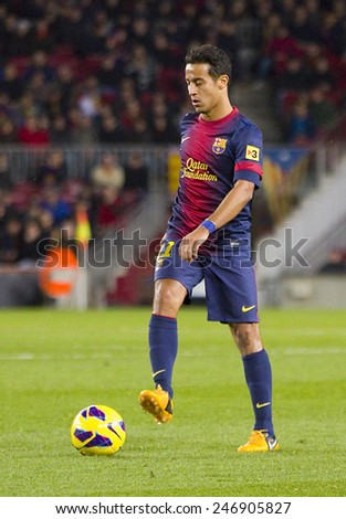 BARCELONA - JANUARY 27: Thiago Alcantara of FCB in action at the Spanish League match between FC Barcelona and Osasuna, final score 5 - 1, on January 27, 2013, in Barcelona, Spain. - stock photo
