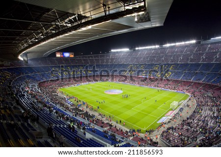 BARCELONA - JANUARY 26: View of Camp Nou stadium before the Spanish league match between FC Barcelona and Malaga CF, final score 3-0, on January 26, 2014, in Barcelona, Spain. - stock photo