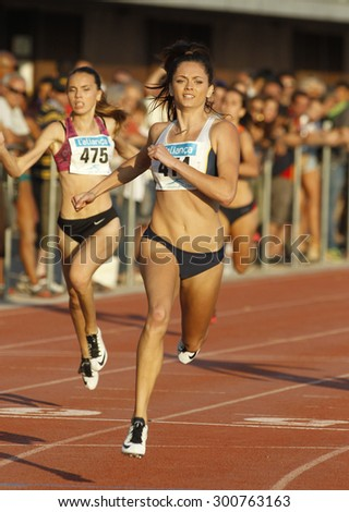 BARCELONA - JULY, 8: Australian athlete Ella Nelson during 200 meters of the Athletics International Meeting of Catalan Federation at the Serrahima Stadium on July 8 2015 in Barcelona, Spain - stock photo