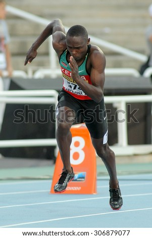BARCELONA - JULY, 11: Boniface Ontuga Mweresa of Kenya in action on 400 meters of the 20th World Junior Athletics Championships at the Olympic Stadium on July 11, 2012 in Barcelona, Spain - stock photo