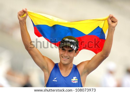 BARCELONA - JULY, 13: Eider Arevalo of Colombia celebrate gold on 10.000 meters race walk of the 20th World Junior Athletics Championships at the Olympic Stadium on July 13, 2012 in Barcelona, Spain - stock photo