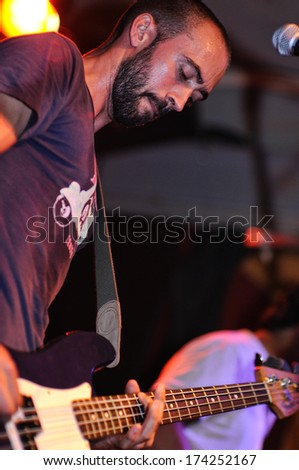 BARCELONA - JULY 22: Shake Before Use (band) performs at Discotheque Rocksound stage on July 22, 2010 in Barcelona, Spain. - stock photo