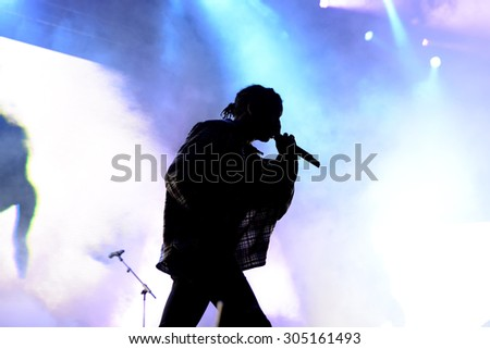 BARCELONA - JUN 19: ASAP Rocky (rapper from Harlem and member of the hip hop collective ASAP Mob) in concert at Sonar Festival on June 19, 2015 in Barcelona, Spain. - stock photo