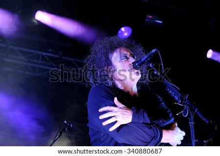 BARCELONA - JUN 1: Robert Smith, singer of The Cure band, performs at San Miguel Primavera Sound Festival on June 1, 2012 in Barcelona, Spain. - stock photo