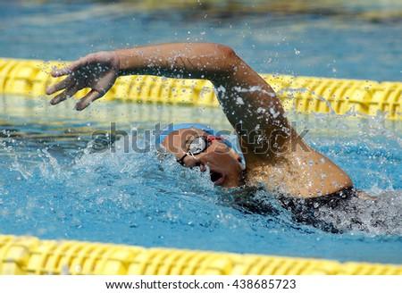 BARCELONA - JUN, 11: Spanish swimmer Maria Vilas swimming crawl during the Trophy Ciutat de Barcelona in Sant Andreu Club, June 11, 2016 in Barcelona, Spain - stock photo