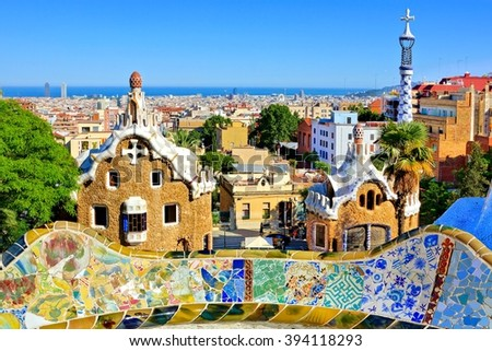 BARCELONA - JUN 4: View of Antoni Gaudi's artistic Park Guell on June 4, 2015 in Barcelona, Spain. This modernistic park was built between 1900 and 1914 and is a popular tourist attraction. - stock photo