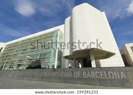 """BARCELONA - JUNE 1: MACBA """"Museo De Arte Contemporaneo"""" on June 1, 2013 in Barcelona, Spain. Build in 1995 by Richard Meier, set in the square of angels, in district of Raval, modern art exhibitions. - stock photo"""