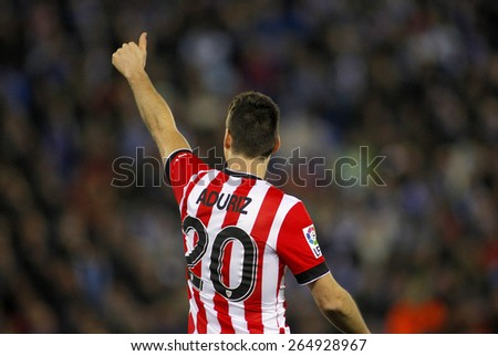 BARCELONA - MARCH, 4: Aritz Aduriz of Athletic de Bilbao celebrates goal during a Spanish League match against RCD Espanyol at the Estadi Cornella on March 4, 2015 in Barcelona, Spain - stock photo