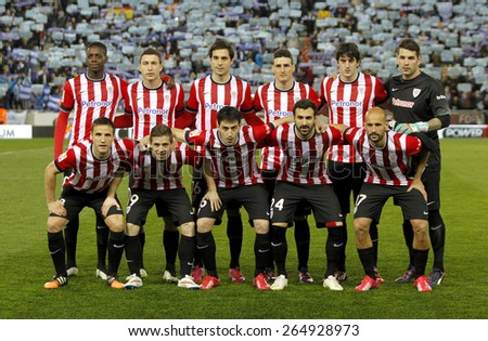 BARCELONA - MARCH, 4: Athletic de Bilbao lineup before a Spanish League match against RCD Espanyol at the Estadi Cornella on March 4, 2015 in Barcelona, Spain - stock photo
