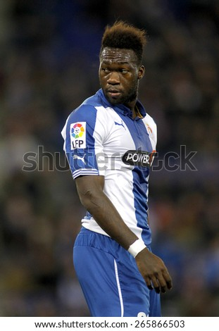 BARCELONA - MARCH, 4: Felipe Caicedo of RCD Espanyol during spanish League match against Athletic Bilbao at the Estadi Cornella on March 4, 2015 in Barcelona, Spain - stock photo