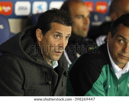 BARCELONA - MARCH, 3: Juan Merino of Real Betis during a Spanish League match against RCD Espanyol at the Power8 stadium on March 3, 2016 in Barcelona, Spain - stock photo