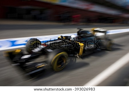 BARCELONA - MARCH 1: Kevin Magnussen of Renault F1 Team at Formula One Test Days at Catalunya circuit on March 1, 2016 in Barcelona, Spain. - stock photo