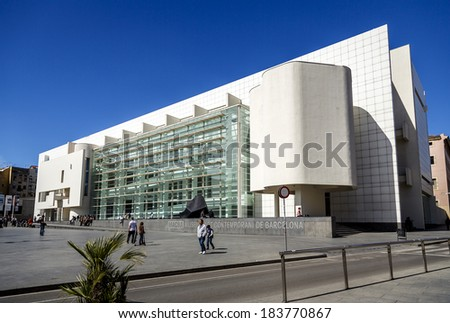 BARCELONA - MARCH 23: MACBA on March 23, 2014 in Barcelona, Spain. Build in 1995 by American architect Richard Meier, set in the square of angels, in the district of Raval, modern art exhibitions.  - stock photo