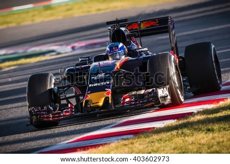 BARCELONA - MARCH 3: Max Verstappen of Toro Rosso F1 Team at Formula One Test Days at Catalunya circuit on March 3, 2016 in Barcelona, Spain. - stock photo
