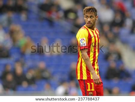 BARCELONA - MARCH, 29: Neymar da Silva of FC Barcelona in action during a Spanish League match against RCD Espanyol at the Estadi Cornella on March 29, 2014 in Barcelona, Spain - stock photo