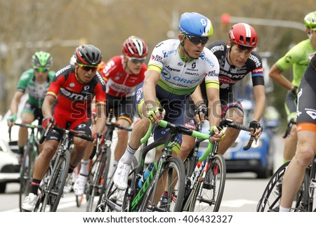 BARCELONA - MARCH, 27: Simon Gerrans of Orica GreenEDGE Team rides during the Tour of Catalonia cycling race through the streets of Monjuich mountain in Barcelona on March 27, 2016  - stock photo