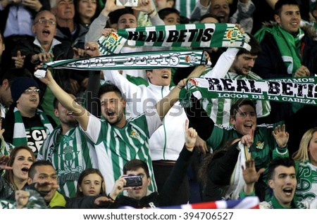 BARCELONA - MARCH, 3: Supporters of of Real Betis during a Spanish League match against RCD Espanyol at the Power8 stadium on March 3, 2016 in Barcelona, Spain - stock photo