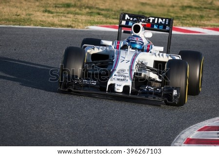 BARCELONA - MARCH 2: Valtteri Bottas of Williams F1 Team at Formula One Test Days at Catalunya circuit on March 2, 2016 in Barcelona, Spain. - stock photo