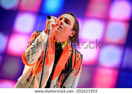 BARCELONA - MAY 29: Arcade Fire (indie rock band based in Montreal, Quebec, Canada) performs at Heineken Primavera Sound 2014 Festival (PS14) on May 29, 2014 in Barcelona, Spain. - stock photo