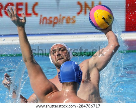 BARCELONA - MAY, 29: Boris Vapensky of ZF Eger during a LEN Champions League Final Six match against Szolnoki VSK at the Picornell Swimming pool on May 29, 2015 in Barcelona, Spain - stock photo