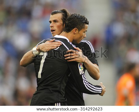 BARCELONA - MAY, 2015: Cristiano Ronaldo and Gareth Bale of Real Madrid during a Spanish League match against RCD Espanyol at the Power8 stadium on Maig 17 2015 in Barcelona Spain - stock photo