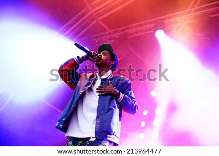 BARCELONA - MAY 29: Earl Sweatshirt (American rapper and member of the hip hop collective Odd Future) performance at Heineken Primavera Sound 2014 Festival (PS14) on May 29, 2014 in Barcelona, Spain. - stock photo