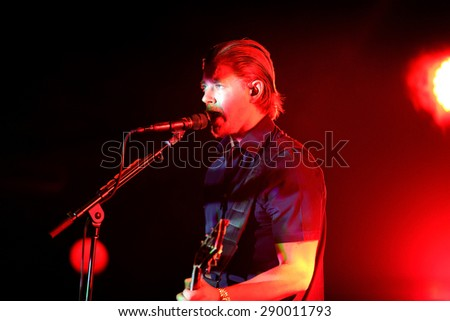 BARCELONA - MAY 28: Interpol (alternative indie rock band from New York) performance at Primavera Sound 2015 Festival, Apolo stage, on May 28, 2015 in Barcelona, Spain. - stock photo
