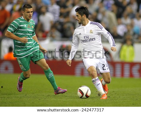 BARCELONA - MAY,11: Isco Alarcon of Real Madrid during the Spanish Kings Cup match against UE Cornella at the Estadi Cornella on October 29, 2014 in Barcelona, Spain - stock photo