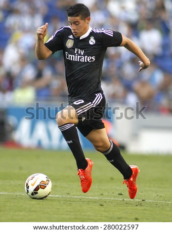 BARCELONA - MAY, 17: James Rodriguez of Real Madrid of during a Spanish League match against RCD Espanyol at the Power8 stadium on Maig 17 2015 in Barcelona Spain - stock photo