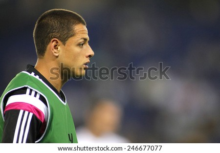 BARCELONA - MAY,11: Javier Chicharito Hernandez of Real Madrid during the Spanish Kings Cup match against UE Cornella at the Estadi Cornella on May 11, 2014 in Barcelona, Spain - stock photo
