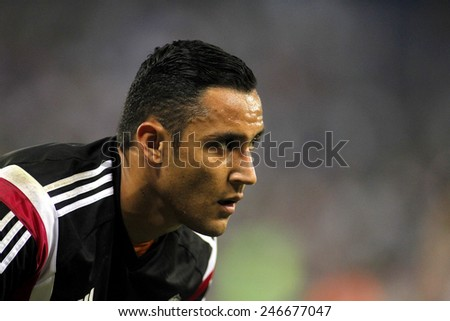 BARCELONA - MAY,11: Keylor Navas of Real Madrid during the Spanish Kings Cup match against UE Cornella at the Estadi Cornella on May 11, 2014 in Barcelona, Spain - stock photo
