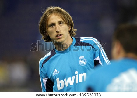 BARCELONA - MAY, 11: Luka Modric  of Real Madrid before the Spanish League match between Espanyol and Real Madrid at the Estadi Cornella on May 11, 2013 in Barcelona, Spain - stock photo