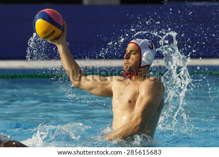 BARCELONA - MAY, 29: Miho Boskovic of Vaterpolski klub Jug Dubrovnik during a LEN Champions League Final Six match against VK Primoje at the Picornell Swimming pool on May 29 2015 in Barcelona Spain - stock photo