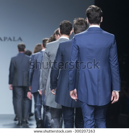 BARCELONA - MAY 08: models walking on the Fuentecapala bridal collection 2016 catwalk during the Barcelona Bridal Week runway on May 08, 2015 in Barcelona, Spain.  - stock photo
