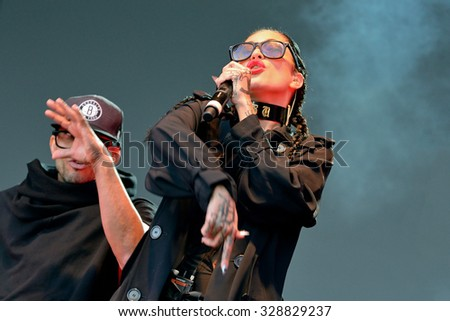 BARCELONA - MAY 23: Porcelain Black (American industrial pop singer songwriter, rapper, and model) at Primavera Pop Festival by Los 40 Principales on May 23, 2014 in Barcelona, Spain. - stock photo