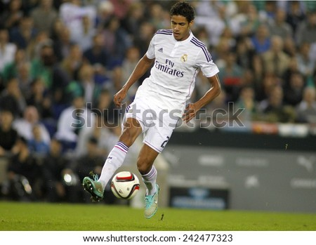 BARCELONA - MAY,11: Raphael Varane of Real Madrid during the Spanish League match between Espanyol and Real Madrid at the Estadi Cornella on May 11, 2013 in Barcelona, Spain - stock photo