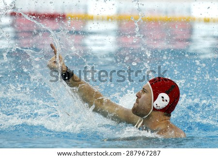 BARCELONA - MAY, 29: Viktor Nagy of Szolnoki VSK during a LEN Champions League Final Six match against Atletic Barceloneta at the Picornell Swimming pool on May 29 2015 in Barcelona Spain - stock photo
