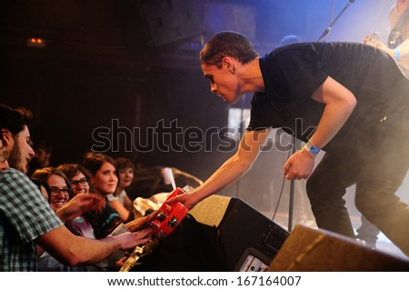 BARCELONA - NOV 30: Fuzzipopes & the Devil�s Carpet  band performs at Make Noise Festival on Apolo stage on November 30, 2013 in Barcelona, Spain. - stock photo
