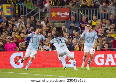 BARCELONA - NOVEMBER 1: Celta players celebrating a goal at Spanish League match between FC Barcelona and Celta de Vigo, final score 0-1, on November 1, 2014, in Camp Nou stadium, Barcelona, Spain. - stock photo