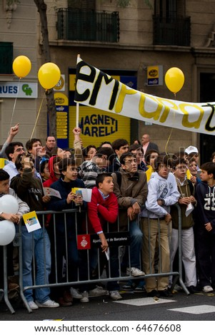 BARCELONA - NOVEMBER 7: People wait for the arrival of Pope Benedict XVI (Joseph Alois Ratzinger) in Barcelona (Spain). November 7, 2010 in Barcelona (Spain). - stock photo