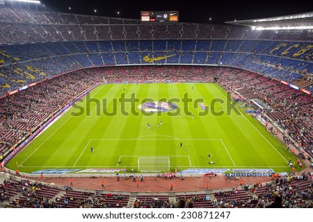 BARCELONA - NOVEMBER 1: View of Camp Nou stadium by night before the Spanish League match between FC Barcelona and Celta de Vigo, final score 0-1, on November 1, 2014, in Barcelona, Spain. - stock photo