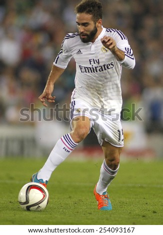 BARCELONA - OCT, 29: Dani Carvajal of Real Madrid during the Spanish League match between Espanyol and Real Madrid at the Estadi Cornella on October 29, 2014 in Barcelona, Spain - stock photo