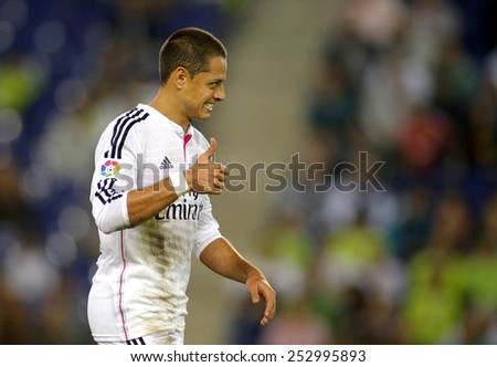 BARCELONA - OCT, 29: Javier Chicharito Hernandez of Real Madrid during the Spanish Kings Cup match against UE Cornella at the Estadi Cornella on October 29, 2014 in Barcelona, Spain - stock photo