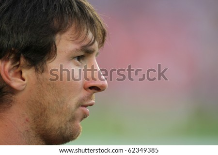BARCELONA - OCT 3: Leo Messi of FC Barcelona portrait before Spanish league match between FC Barcelona and RCD Mallorca at Nou Camp Stadium in Barcelona, Spain. October 3, 2010 - stock photo