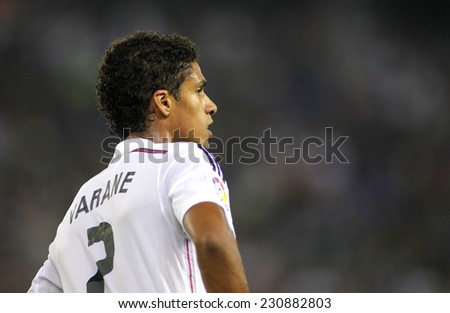 BARCELONA - OCT, 20: Raphael Varane of Real Madrid during the Spanish Kings Cup match against UE Cornella at the Estadi Cornella on October 29, 2014 in Barcelona, Spain - stock photo
