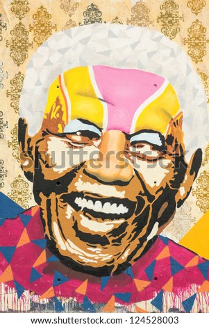 BARCELONA - OCT 24: Tribute to Nelson Mandela on Oct 24, 2012 in the square of 3 chimneys, Barcelona, Spain. He was the first democratically elected South African president by universal suffrage - stock photo