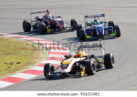 BARCELONA - OCTOBER 30: Some unidentified drivers racing at European Formula 3 Open, on October 30, 2011, in Circuit de Catalunya, Barcelona, Spain. - stock photo