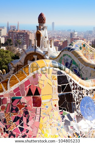 Barcelona Park Guell of Gaudi tiles mosaic serpentine bench modernism - stock photo