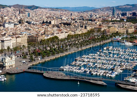 Barcelona port view from the air - stock photo